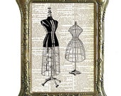VINTAGE DRESS FORM art print Sewing black white wall decor upcycled recycled vintage dictionary text book page  8x10, 5x7