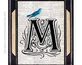 Letter M art print on vintage dictionary text book page Alphabet Typography Ornate Initial Monogram Victorian Edwardian Blue Bird 5x7, 8x10