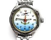 Soviet Mechanical Watch VOSTOK KOMANDIRSKIE waterproof military Russian wristwatch USSR, 1.25 inch blue anchor star aircraft windup watch