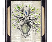 TREE OF LIFE art print original collage green forest woodland animal birds spring human heart upcycled dictionary text book page 8x10, 5x10