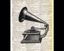 GRAMAPHONE wall decor art print retro music gramophone illustration with roses industrial on upcycled vintage dictionary book page 8x10, 5x7