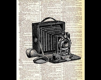 FOLDING CAMERA art print wall decor photography photographer retro technology apparatus on upcycled vintage dictionary book page 8x10, 5x7