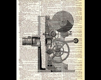 MOVIE CAMERA vintage illustration art print industrial technology cinema cinematography film wall decor upcycled dictionary book page 8x10