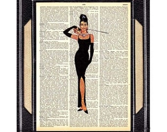 AUDREY HEPBURN art print wall decor Breakfast at Tiffanys retro movie actor actress cinema illustration on vintage dictionary book page 8x10