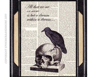 """Poe RAVEN on SKULL art print wall decor with Poe Quote """"All that we see... a dream"""" horror literature on vintage dictionary book page 8x10"""