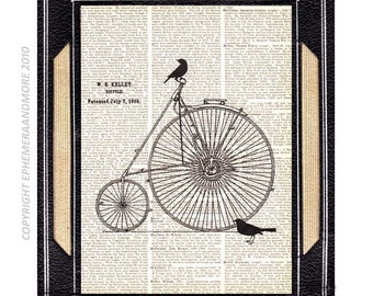 Bicycle Antique art print wall decor on upcycled vintage dictionary book page black white bike illustration bird silhouette steampunk Kelley