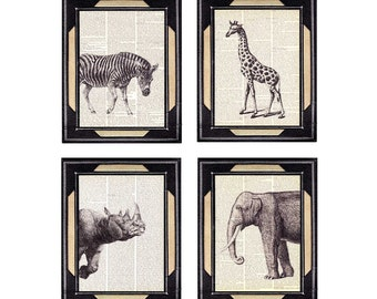 AFRICAN ANIMALS 4 art prints zebra elephant giraffe rhinoceros rhino wall decor on vintage dictionary book page black white safari 8x10