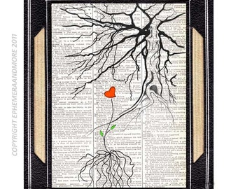 NEW BEGINNING original mixed media art on vintage dictionary book page love tree red heart illustration woodland forest hope change 8x10,5x7