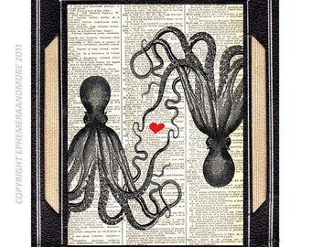 Dictionary art print OCTOPUS LOVE wedding anniversary couple black white red upcycled vintage dictionary book page nautical ocean sea 8x10