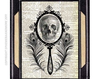HUMAN SKULL with MIRROR Art Print Wall Decor Victorian Steampunk Vanity on vintage dictionary book page black white surreal anatomy humor