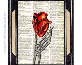 ANATOMICAL HEART art print on vintage dictionary book page human anatomy red love wedding anniversary cardiology doctor wall decor 8x10, 5x7