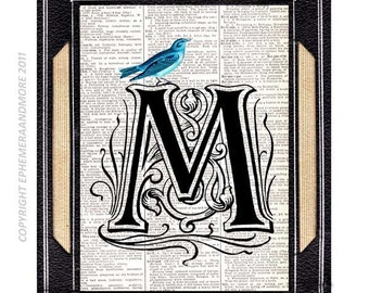 Letter M art print wall decor Alphabet Typography Ornate Initial Monogram Victorian Edwardian Blue Bird on dictionary book page  5x7, 8x10