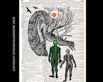 SUBCONSCIOUS Mind Brain ART PRINT wall decor neurology psychology human anatomy medical science surreal on vintage dictionary book page 8x10