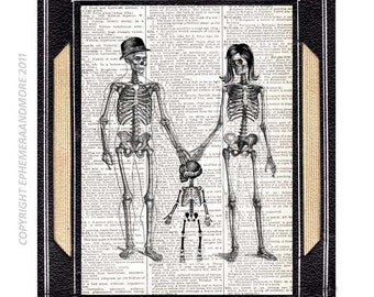 SKELETON FAMILY art print on upcycled vintage dictionary book page anatomy humor baby child skeleton illustration Halloween Anniversary 8x10