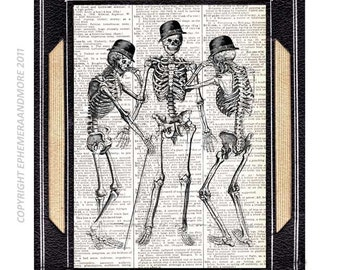 SKELETON Man art print wall decor human anatomy humor anatomical humorous illustration on vintage dictionary text book page black white 8x10