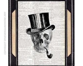 SKELETON Man Skull art print wall decor anatomical humorous art black white victorian illustration vintage dictionary book page 8x10, 5x7