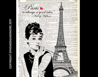 AUDREY HEPBURN art print Breakfast at Tiffany's Paris is Always a Good Idea retro movie cinema vintage dictionary book page wall decor 8x10