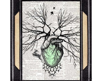 HUMAN HEART as forest tree art print wall decor vintage dictionary book page cardiology anatomical surreal illustration green StPatrick 8x10