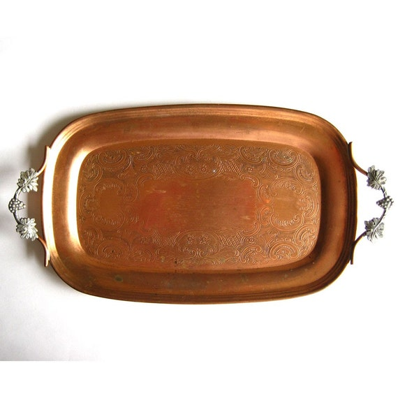 Vintage Copper Tray Venetian Copper Serving Tray Kitchen