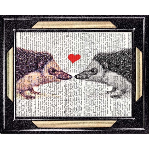 Hedgehog Couple art print wall decor vintage dictionary book page forest animal friends love rustic wedding anniversary Valentine 8x10, 5x7