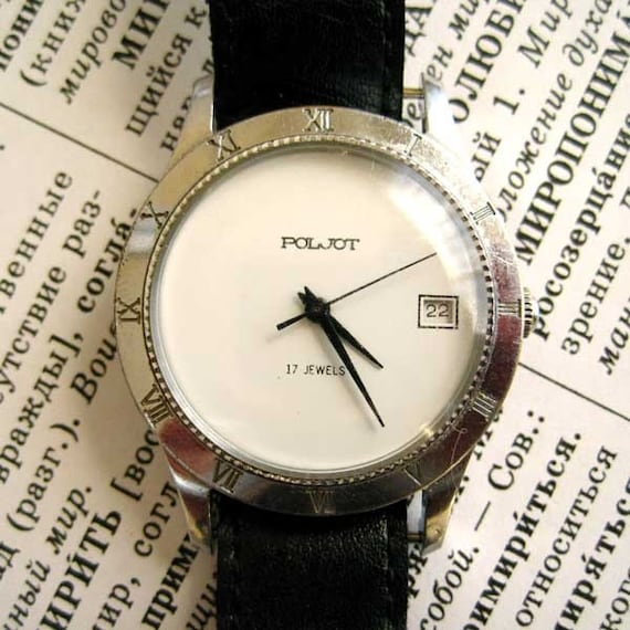 Soviet Mechanical Watch POLJOT, 17 jewels, Soviet Russian wristwatch made in USSR, 1.5 inch diameter, 1.25 watch face, man watch, black leather strip, gray grey silver stainless steel
