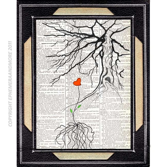 NEW BEGINNING art print love tree roots red heart illustration woodland forest hope change end on vintage dictionary book page 8x10, 5x7