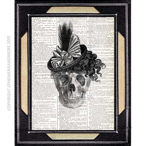 SKELETON Woman Skull art print wall decor Victorian Steampunk anatomical illustration on vintage dictionary book page black white 8x10