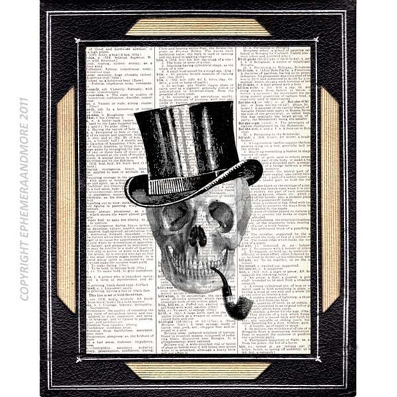 SKELETON GENTLEMAN Skull art print wall decor vintage dictionary book page anatomical humorous black white victorian illustration 8x10