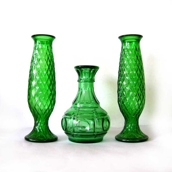 Emerald Green Glass  bud vases vintage carafe home decor, cottage rustic country decor, shabby chic