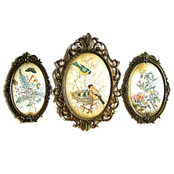 Filigree oval frames italy victorian wall decor silk floral - Oval wall decor ...