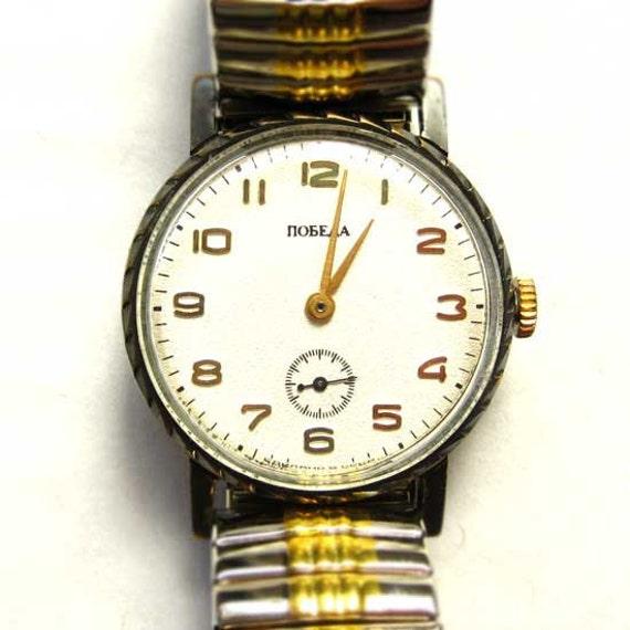 VINTAGE Mechanical Watch POBEDA USSR Russian Soviet windup watch wristwatch 1.25 white face retro watch for men mens watch