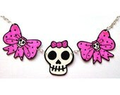 Pink Polka Bow and Girl Skull Necklace