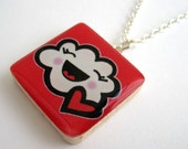 Laughing Cloud Wooden Tile Pendant Necklace by Dolly Cool