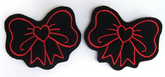 Bow patch with heart Pair in red and sew on