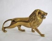Vintage BRASS LION - Hollywood Regency - Desk Accessories - Brass Figurine - Brass Animal