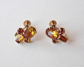 Vintage Rhinestone Earrings - Bridesmaid Wedding Jewelry - 1950s Amber Coro Costume Jewelry - Christmas Gift for Her
