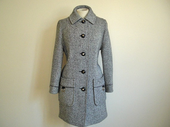 Vintage Tweed Winter Coat Jacket by Penguin Fashions in Black \/ White