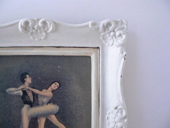 Vintage SHABBY BALLERINA Framed Art Portrait