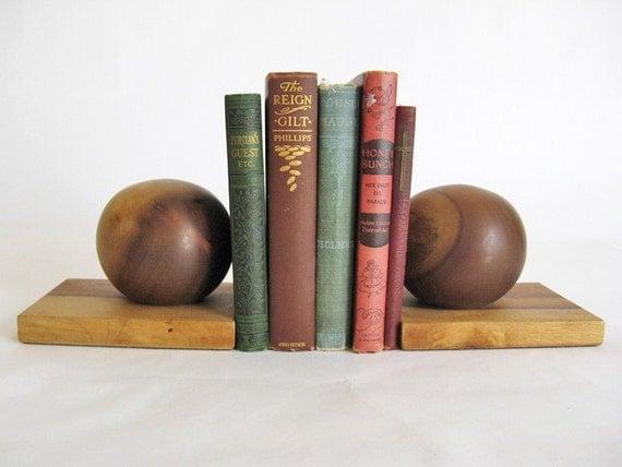 Mid Century Modern WOOD BOOKENDS - Vintage Book Ends Set - Mid Century Desk Accessories - 1960s MCM Decor