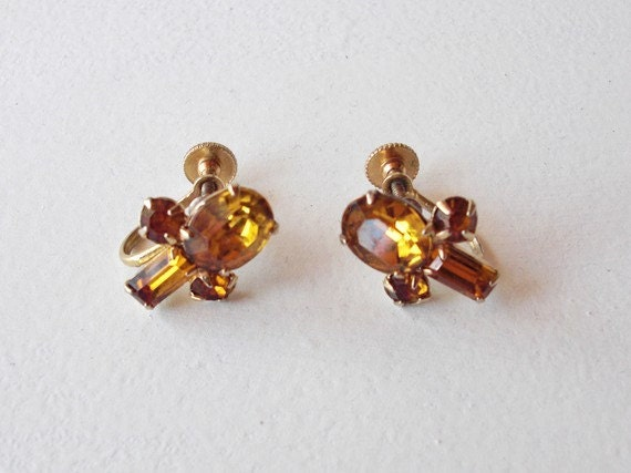 Vintage Rhinestone Earrings - Bridesmaid Wedding Jewelry - 1950s Amber Coro Costume Jewelry - Christmas Gift for Her