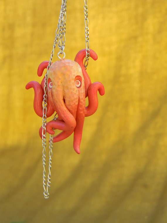 Carla the Orange Octopus Pendant.Jewelry.Necklace RESERVED