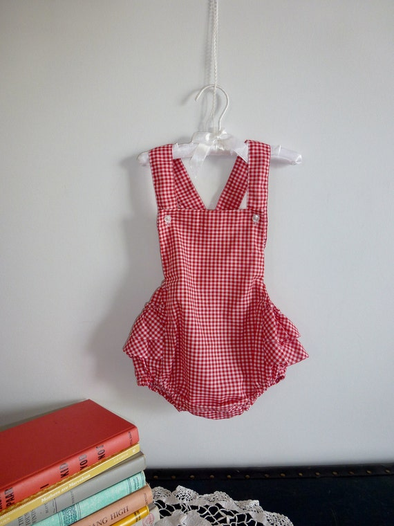 Red Checked Ruffle Romper