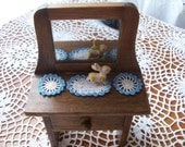 Miniature ooak Crochet dollhouse doilies 2 round and 1 oval BLUE/WHITE