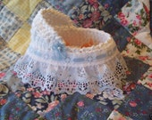 OOak Crochet Bassinet 5 Inches blue and white lace trim