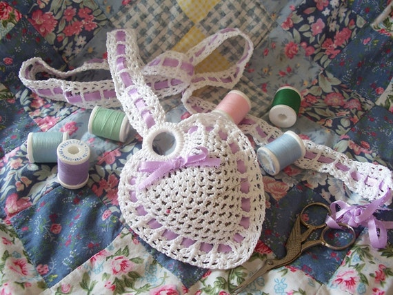 Crochet lace chataleine/pincushion for sewing includes scissors
