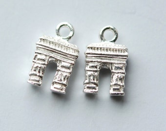 1 X 925 sterling silver Triumphal Arch pendant 7.5mmx13mm (12149pend)