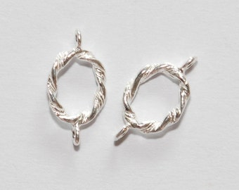 2 x 925 sterling silver twist oval ring connector 13.5mm (12125cntr)