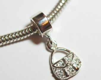 1 x 925 sterling silver with CZ crystal handbag pendant charm 19mmx4mm(12206pend)