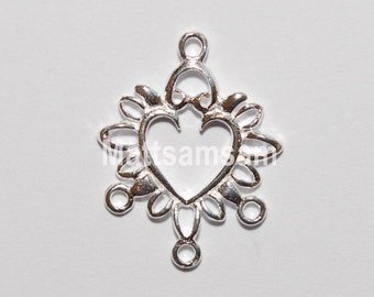 2 x 925 sterling silver filigree chandelier earring connector 15.5mmx20mm (12092chad)