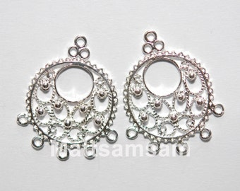 2 x sterling silver filigree chandelier earring connector (12161chad)